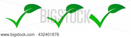 Check Mark With Green Leaf. Check Leaf Logo Design. Vector Illustration. Set Of Eco Checkmark Icons.