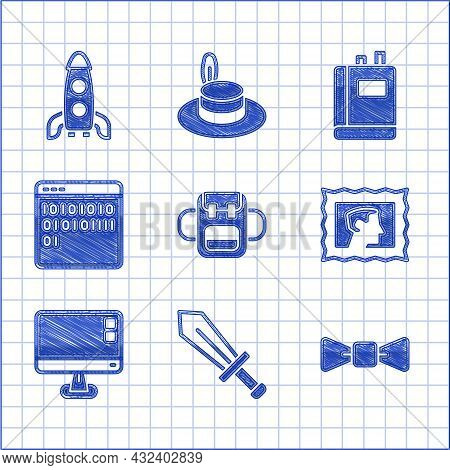 Set School Backpack, Sword For Game, Bow Tie, Postal Stamp, Computer Monitor Screen, Binary Code, Bo