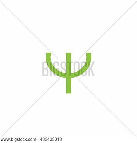 Logo For Psychologists. Green Letter Psi. Neuropsychology And Psychology Logo Isolated On White. Psy