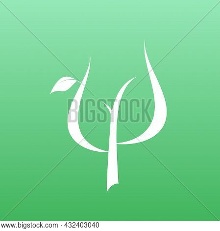Logo For Psychologists. Greek Letter Psi With Leaves. Neuropsychology And Psychology Logo Isolated O