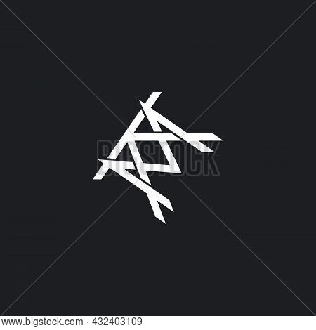 Letter Km Abstract Overlapping 3d Flat Logo Vector