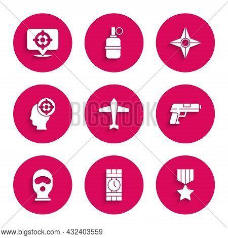 Set Jet Fighter, Dynamite And Timer Clock, Military Reward Medal, Pistol Or Gun, Balaclava, Target S