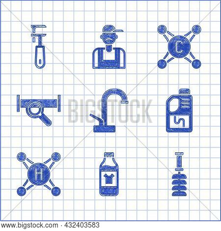 Set Water Tap, Bottle For Cleaning Agent, Toilet Brush, Drain Cleaner Bottle, Industry Metallic Pipe