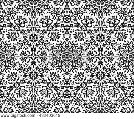 Damask Seamless Abstract Pattern. Vintage Rich Ornament For Textiles, Wallpaper, Packaging. Floral O