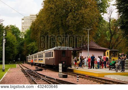 Kyiv, Ukraine-august 22, 2021:children's Train In The Station. Few Carriages Stopped At The Station