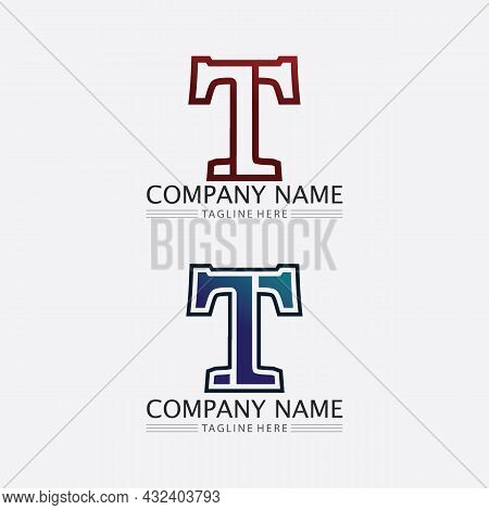 T Letter, T Logo Vector Font Alphabet Design And Icon T