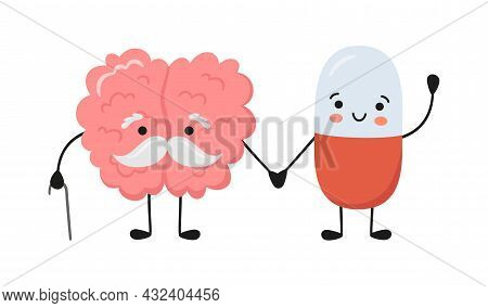 Old Brain Character And Happy Smiling Medicine Pill Characters Hold Hands. Kawaii Capsule And Cute B