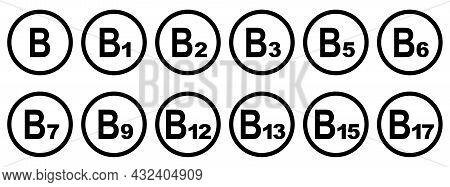 Vitamins Round Icons. Set Of Vitamins B Grupy. Vector Illustration. Healthy Life Concept