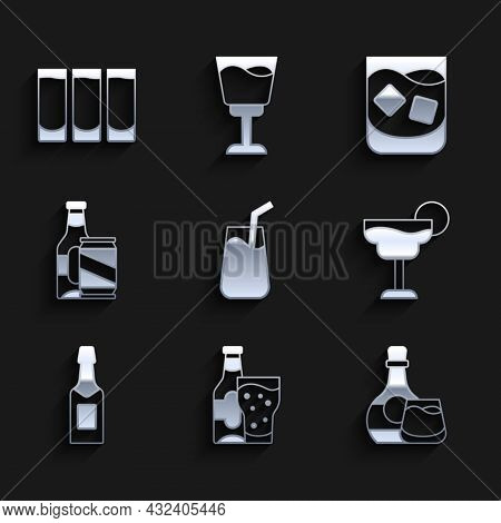 Set Cocktail, Beer Bottle And Glass, Whiskey, Champagne, Beer Can, Glass Of Whiskey And Shot Icon. V
