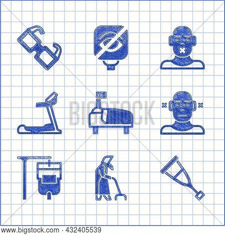 Set Hospital Bed, Grandmother, Crutch Or Crutches, Deaf, Iv Bag, Treadmill Machine, Head Of Deaf Dum