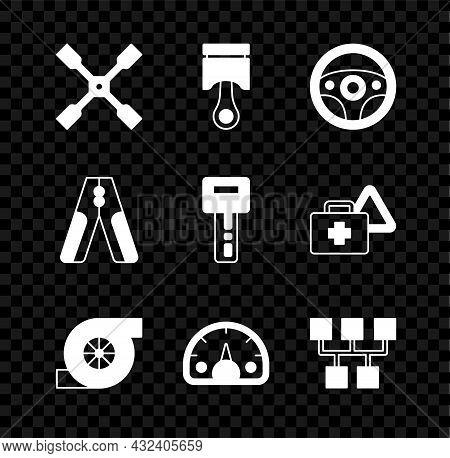Set Wheel Wrench, Engine Piston, Steering Wheel, Automotive Turbocharger, Speedometer, Gear Shifter,