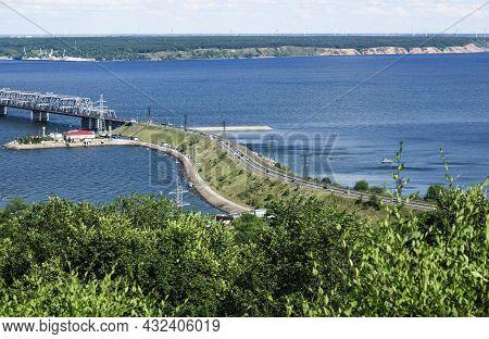 Transport Bridge Across The Wide Volga River In Ulyanovsk