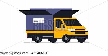Trucks For The Online Parcel Delivery Service. Transport For Delivery Of Orders. Truck Front View In