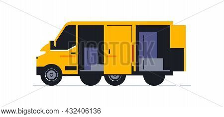 A Van For An Online Home Delivery Service. Transport For Delivery Of Orders. Van Rear View In Half T