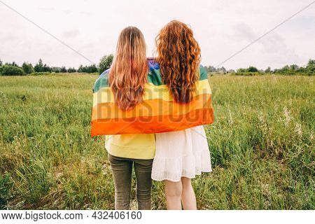 Homosexual Couple Holding Lgbt Flag, Rear View.