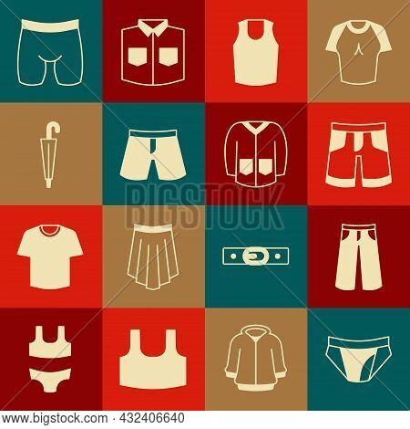 Set Men Underpants, Pants, Short Or, Undershirt, Umbrella, Cycling Shorts And Sweater Icon. Vector