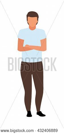 Man With Crossed Arms On Chest Semi Flat Color Vector Character. Full Body Person On White. Guy Stan