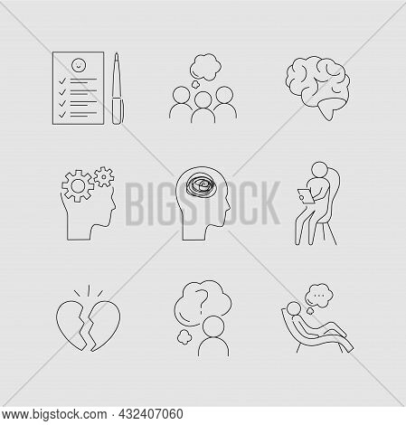 Psychotherapy And Psychology Line Icon Set. Simple Thin Outline Pictogram Collection. Mental Health