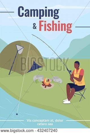 Camping And Fishing Poster Flat Vector Template. Weekend Trip For Relaxation. Brochure, Booklet One