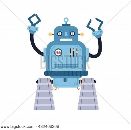 Cute Funny Robot Toy. Old Retro Bot In 50s Style. Childish Cyborg With Bizarre Face And Hands. Portr