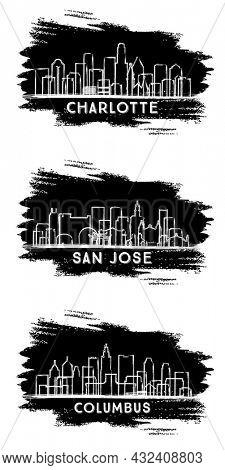 San Jose California, Columbus Ohio and Charlotte North Carolina USA City Skyline Silhouette Set. Hand Drawn Sketch.