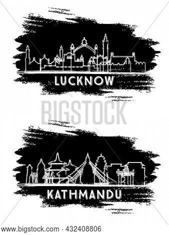 Lucknow India and Kathmandu Nepal City Skyline Silhouette Set. Hand Drawn Sketch. Business Travel and Tourism Concept with Historic Architecture. Cityscape with Landmarks.