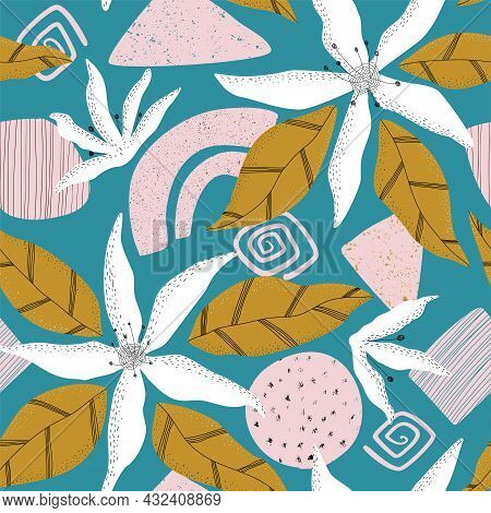 Trendy Floral And Hand Drawn Shapes Collage Pattern In Turquoise Green, Pink And Mustard Colours. Ha
