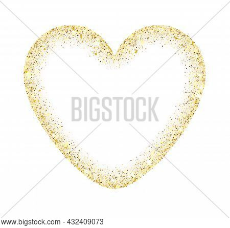 Golden Glitter Heart Frame With Space For Text. Abstract Luxury Glow Golden Vector Heart. Vector Gol