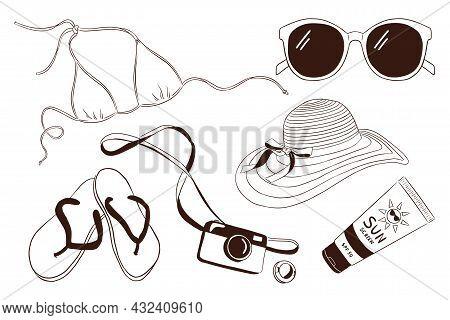 Hand Drawn Vacation Items Set. Sunglasses Bikini, Flip Flops, Photo Camera, Sunscreen Tube, Womans H