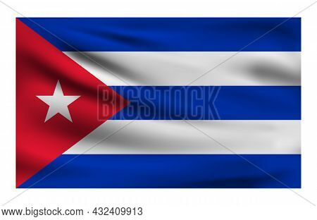 Realistic National Flag Of Cuba. Current State Flag Made Of Fabric. Vector Illustration Of Lying Wav