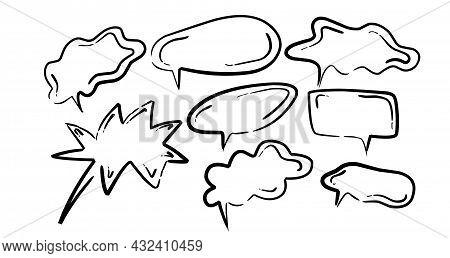 Talk Clounds Set Hand Drawn With Brush Pen.
