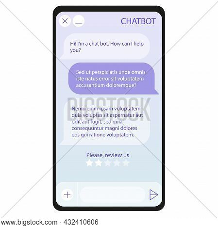 Chat Bot Window On Smartphone Screen. User Interface Of Application With Online Dialogue. Conversati