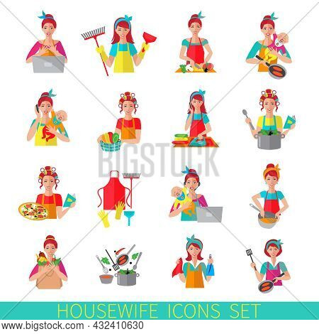 Housewife Icon Set With Woman House Working Cleaning Washing Isolated Vector Illustration