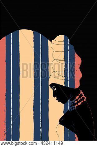African Girl In A Turban On A Fabric Background With Abstract Vertical Stripes. African Beauty  Mode