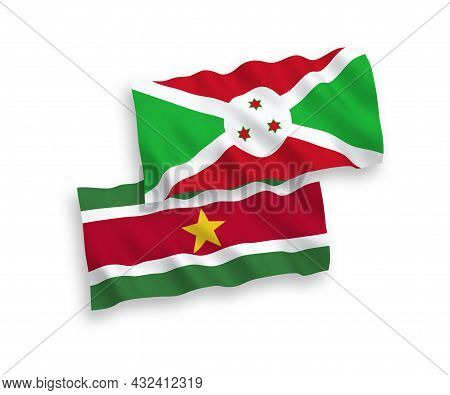 National Fabric Wave Flags Of Burundi And Republic Of Suriname Isolated On White Background. 1 To 2