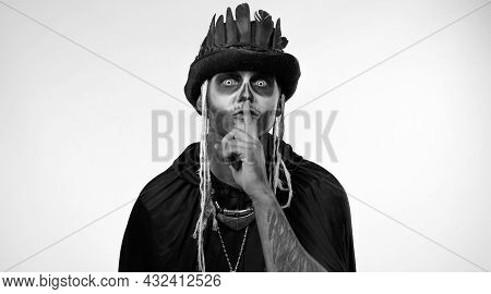 Creepy Man With Skeleton Makeup In Top-hat With Feathers. Strict Guy Asking To Stay Calm, Keep Silen