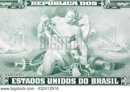 Allegorical Man With Industrial Implements From Old Brazilian Money
