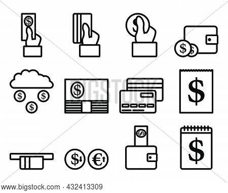Money Icon Set. Bold Outline Design With Editable Stroke Width. Vector Illustration.