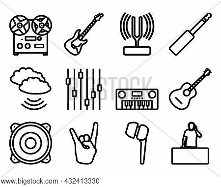 Music Icon Set. Bold Outline Design With Editable Stroke Width. Vector Illustration.