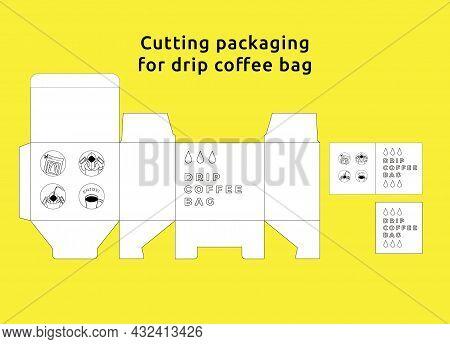 Cutting Packaging For Coffee Bag, Drip Coffee Design Template Die Cut