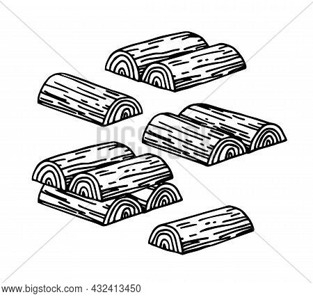 Chopped Firewood Stacked In A Woodpile For A Rustic Stove, Pattern Elements, Vector Illustration Wit