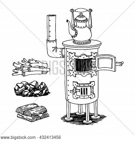 Wood-burning Old Decorative Iron Home Stove With Kettle, Coal And Firewood, Vector Illustration With