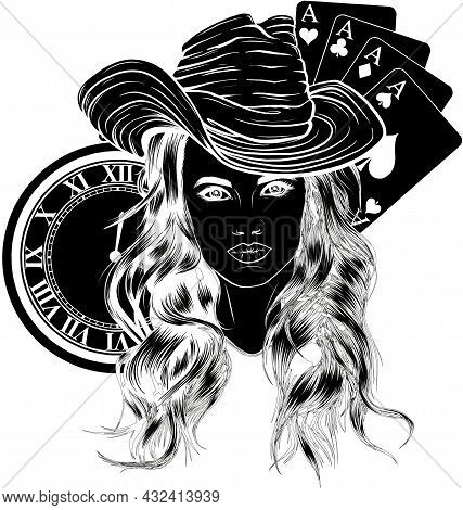Vector Illustration Of Cowgirl With Poker Aces And Clock