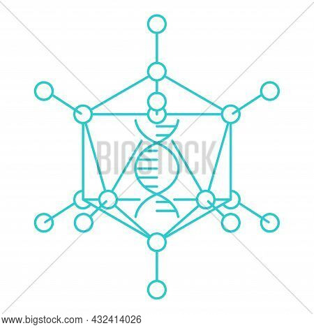 Adenovirus Adenoviridae Icon In Thin Line - Artificial Virus With Icosahedral Nucleocapsid Containin