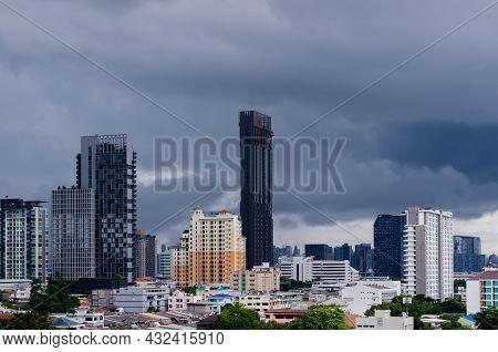 Bangkok, Thailand - September 09 2021: City Skyline With Dark Cloud Which Cause Heavy Rain In Monsoo