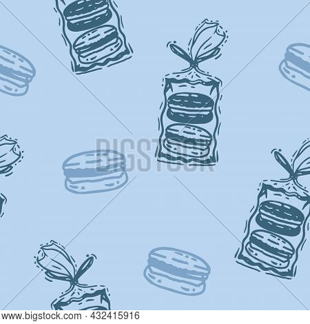 Vector Monochromatic French Macarons Packaging In Blue Seamless Pattern Background. Perfect For Web