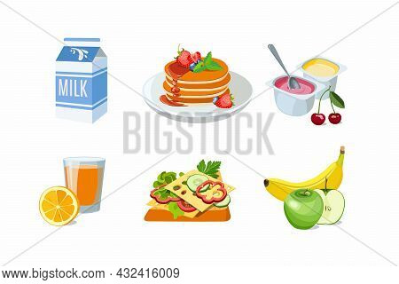 Classic Hotel Breakfast Set With Pancakes And Milk, Cheese Toast, Orange Juice. Menu Poster With Yog