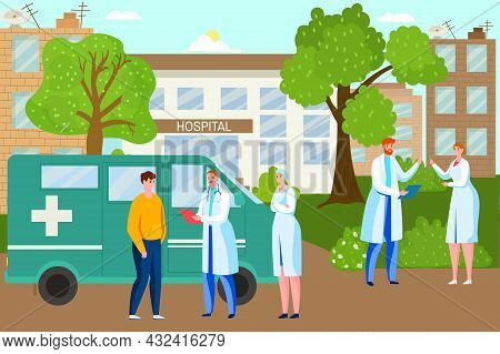Professional Specialist Doctor Character Together Stand Near With Ambulance Car Flat Vector Illustra