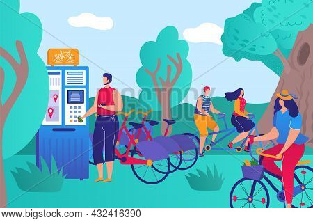 Parkland Bicycle Rental, Healthy Lifestyle People Character Together Sport Activity Flat Vector Illu