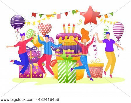 Cheerful Young Teenager People Character Together Celebrate Birthday Party, Birth Cake With Balloon